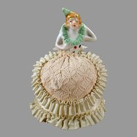 Vintage Porcelain Half Doll in Pirouette Costume with Fancy Original Dress Pincushion