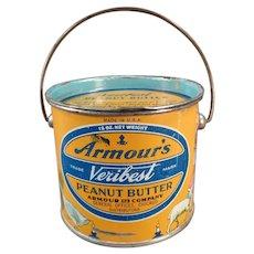 Vintage Armour's Veribest 12oz Peanut Butter Tin Pail - Mother Goose Nursery Rhyme