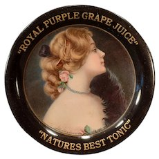 Vintage 1907 Advertising Tip Tray – Royal Purple Grape Juice Advertising