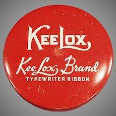 Vintage Red KeeLox Typewriter Ribbon Tin