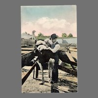 Vintage Postcard – Man and Ostrich with Plumes