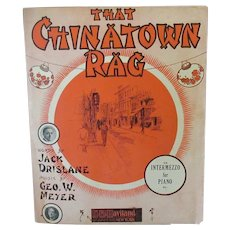 Vintage 1910 Sheet Music – That Chinatown Rag