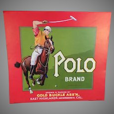 Vintage California Fruit Crate Label for Framing – Polo Brand with Great Graphics