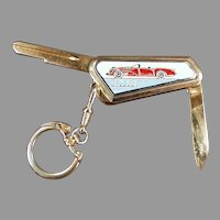 Vintage Buick Wildcat Keychain - Uncut Key with Pocket Knife ca 1950's