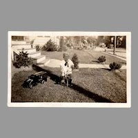 Vintage 1920's Photograph with Boy on Tricycle and Keystone Pressed Steel Toy Truck