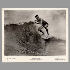 Vintage 1960's Surfing Photograph with Paul Strauch, Bud Browne's Spinning Boards, Hobie Surfboards