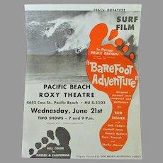 Vintage 1960's Surfing Memorabilia – Original Bruce Brown Barefoot Adventure Surf Film Mailed Handbill
