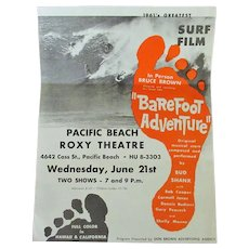 Vintage 1960's Surfing Memorabilia – Original Bruce Brown Barefoot Adventure Surf Film Mailed Handbill