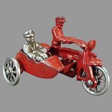 Vintage Cast Iron Cop Motorcycle with Sidecar and Rider - All Original