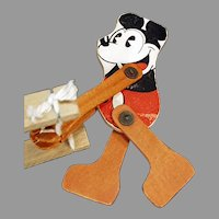 Vintage 1930's Pie-eyed Mickey Mouse Wood Trapeze Toy with Walt Disney Copyright