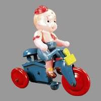 Vintage Occupied Japan Celluloid Wind Up Toy - Boy on Tricycle O.J.