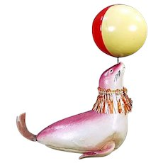 Vintage Celluloid Wind Up Toy - Circus Seal Balancing a Ball - Pre-War Japan