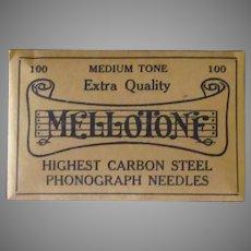 Vintage Steel Phonograph Needles - Mellotone 100 Medium Tone - Unopened Package