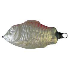 Vintage Blown Glass Christmas Tree Ornament - Mercury Glass Fish