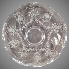 "Vintage 14"" Heisey Glass Party Plater – Orchid Etch on Waverly Pattern"