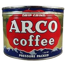 Vintage 1# Arco Key Wind Coffee Tin - One Pound Advertising Tin