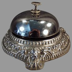 Vintage Counter Top Nickel Plated Desk Bell with Ornate Angel Cherub Design