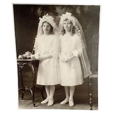 Vintage Photograph, Large Format, Two Young Girls in Communion Dresses ca 1900