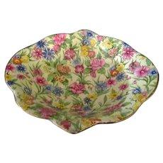 Vintage Royal Winton Chintz Bowl – Colorful Kew Pattern with Gold Trim