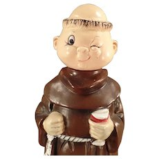 Vintage Wind Up Musical Decanter - Old Music Box, Ceramic Friar Monk