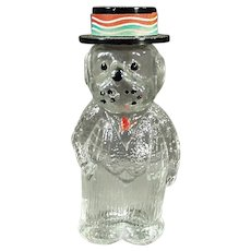 Small Vintage Perfume Bottle - Figural Glass Dog Wearing a Hat with Lioret Label