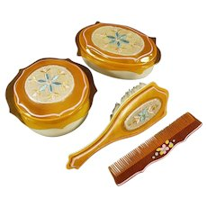 Vintage Celluloid Dresser Set with Covered Boxes with Fabric Inserts, Matching Brush and Comb