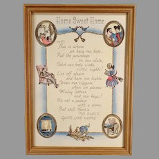 Vintage Home Sweet Home Motto Print - Cute Graphics and Poem in Original Frame