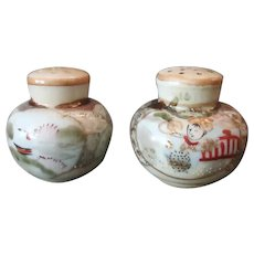 Vintage Salt and Pepper Set - Handpainted S&P with Oriental Decorations and Gold