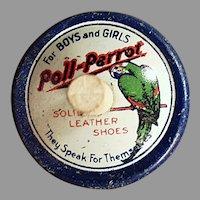 Vintage Poll-Parrot Shoes Spinning Top - Tin Advertising Premium