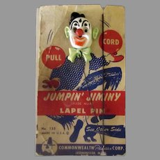 Vintage Jumpin' Jiminy Clown Action Toy Lapel Pin with Original Packaging