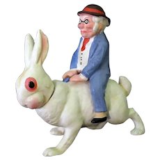 Vintage Easter Holiday German Candy Container – Foxy Grandpa Riding a White Bunny Rabbit