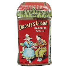 Very Small Vintage Cocoa Sample Tin - Colorful Droste Advertising Miniature Can