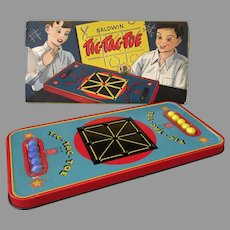 Vintage Baldwin Tic-Tac-Toe Tin Marble Game Toy with Colorful Original Box