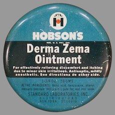 Vintage Hobson's Derma Zema Ointment Medicine Tin – Old Medical Advertising