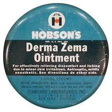 Vintage Hobson's Derma Zema Ointment Medicine Tin – Old Medical Advertising