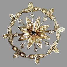 Vintage 14k Gold Star Burst Brooch Pendant - Little Sapphire and Seed Pearls