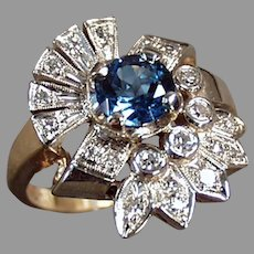 Ladies Vintage 14k Gold Cocktail Ring - Blue Topaz and Diamonds - Size 7+