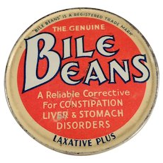 Vintage Laxative Tin - Biles Beans Laxative Twists - Old Medical Advertising