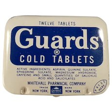 Vintage Guards Cold Aspirin Tablets Medicine Tin - Old Medical Advertising