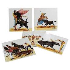 Set of 5 Vintage Art Tiles with Beautiful Bullfighting Scenes - Made in England