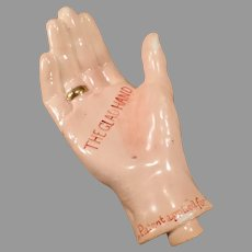 Vintage Porcelain Figural Whiskey Flask Nip – The Glad Hand with a Gold Ring