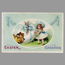 Vintage Easter Postcard - Little Girl, Decorated Easter Egg & Baby Chicks