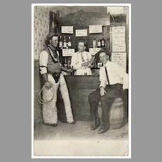 1913 Vintage Photograph Postcard - Cowboys in a Western Saloon