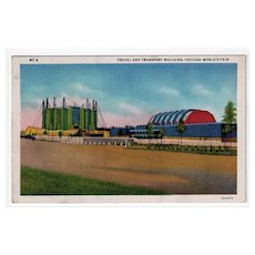 Vintage Postcard - 1933 Century of Progress Travel and Transport Building