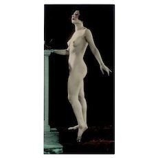 Vintage 1920's Hand Tinted Photograph - Posed Nude Woman Photo