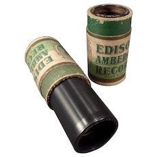 Two Vintage Edison Wax Cylinder Phonograph Records - Amberols with Vocalist Collins