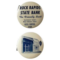 Vintage Celluloid Advertising Tape Measure - Rock Rapids State Bank - Iowa
