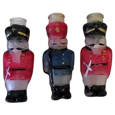 Three Vintage Nutcracker Christmas Ornaments - Frosted and Painted Light Bulb Covers