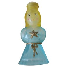 Vintage Christmas Ornament - Frosted and Painted Light Bulb Cover – Blue Angel