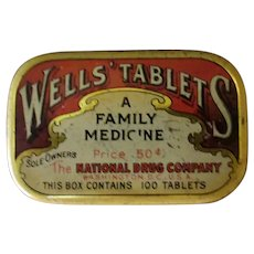 Vintage National Drug Wells' Laxative Medicine Tin - Old Medical Advertising